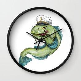 Captain Catfish Tattoo Wall Clock