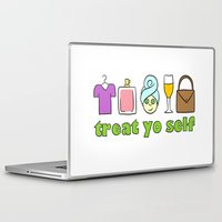 treat yo self Laptop & iPad Skins featuring Treat Yo Self Doodles by CozyReverie
