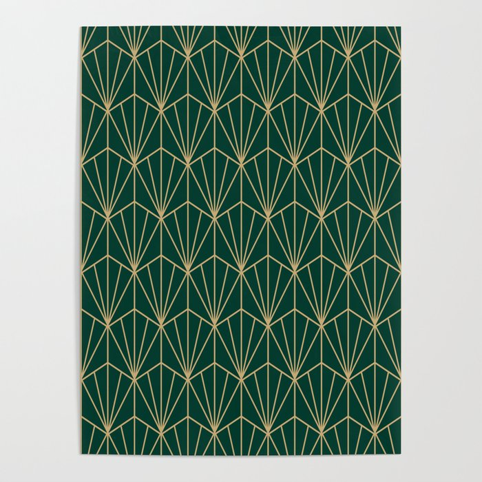 Art Deco Vector in Green and Gold