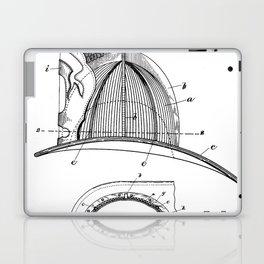 Firemans Helmet Patent - Fireman Art - Black And White Laptop & iPad Skin