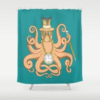 steam punk Shower Curtains featuring Steam Punk Octopus by J&C Creations