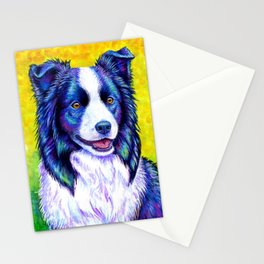 Colorful Border Collie Dog Stationery Cards