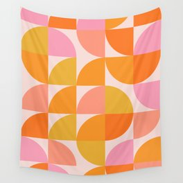Mid Century Mod Geometry in Pink and Orange Wall Tapestry