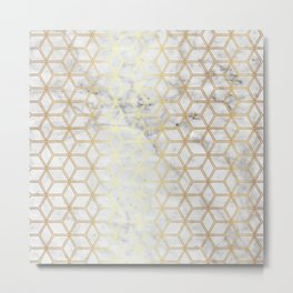 Hive Mind Marble Gold #510 Metal Print