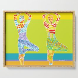 Simple silhouettes of women doing yoga Serving Tray