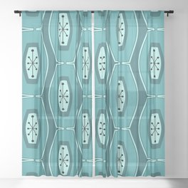Midcentury Funky Chain Pattern Teal Sheer Curtain