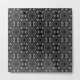Black and White Mandala Lace Metal Print