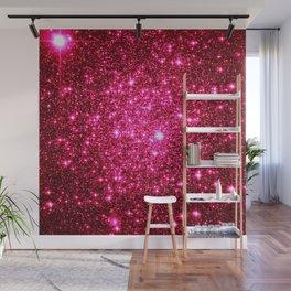 Hot Pink Glitter Galaxy Stars Wall Mural