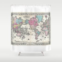 1852 J.H. Colton Map of the World Shower Curtain