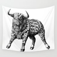 pit bull Wall Tapestries featuring Raging Bull by BIOWORKZ