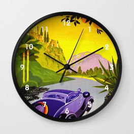 Visit Greece in Auto Travel Wall Clock