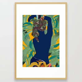 Jungle Pop! Blue Bather with Palms Framed Art Print