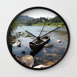 a alone boat Wall Clock