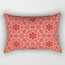 Coral Floral Pattern Abstract Tiled Print Rectangular Pillow