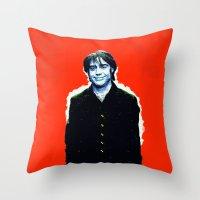 brad pitt Throw Pillows featuring Brad Roberts by Alec Goss