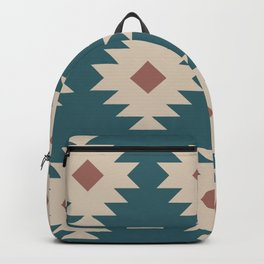Southwestern Pattern 535 Teal Green and Brown Backpack