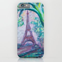 La Tour Eiffel - abstract acrylic painting of the Eiffel Tower iPhone Case