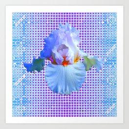 AWESOME BLUISH-WHITE PASTEL IRIS OPTICAL ART Art Print
