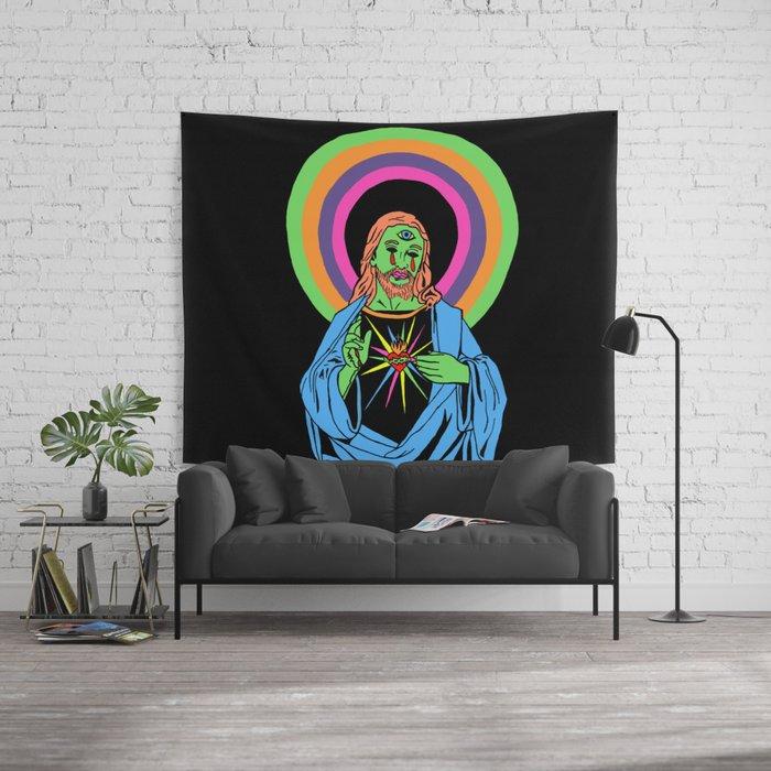 blacklight jesus wall tapestrycorinnehalbert | society6