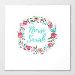 Nurse Sarah - Floral Wreath - Nurse Graphics Canvas Print
