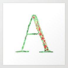 Floral Monogram Letter A Art Print