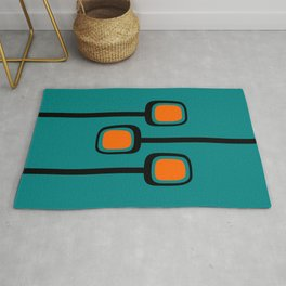 Mid Century Modern Branches - Orange on Teal Rug