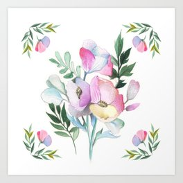 Flower pattern: watercolor Art Print