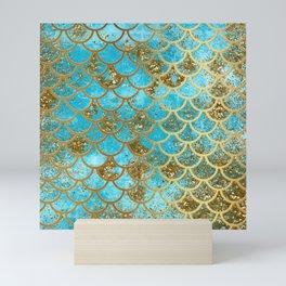 Aqua Teal & Gold Glitter MermaidScales - Mermaid Scales And Sea Foam Mini Art Print