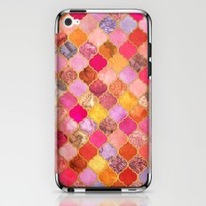 Hot Pink, Gold, Tangerine & Taupe Decorative Moroccan Tile Pattern iPhone & iPod Skin