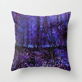 Van Gogh Trees & Underwood Purple Blue Throw Pillow