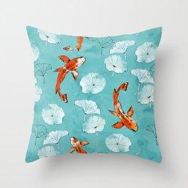 Waterlily koi in turquoise Throw Pillow