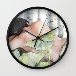 Sleeping in the Forest, Luna Moth Girl with Dark Hair Wall Clock