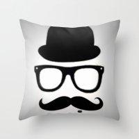 gentleman Throw Pillows featuring Gentleman by Amy Copp