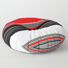 red white black grey striped pattern Floor Pillow