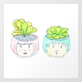 Cute Succulent Love Art Print