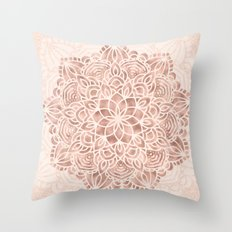 Mandala Seashell Rose Gold Coral Pink Throw Pillow