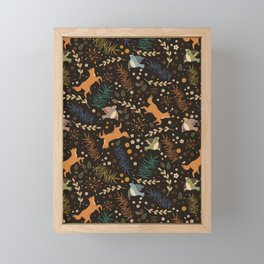 Autumn Woodsy Floral Forest Pattern With Foxes And Birds Framed Mini Art Print
