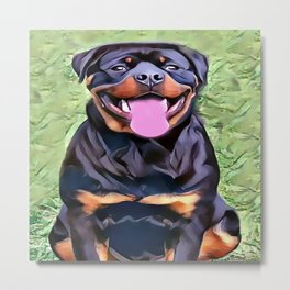 Happy Rottweiler Metal Print
