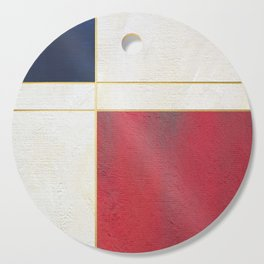 Blue, Red And White With Golden Lines Abstract Painting Cutting Board