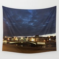 moscow Wall Tapestries featuring Night Moscow. by Mikhail Zhirnov