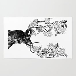 The Stag and Roses | Black and White Rug