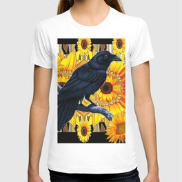 GRAPHIC BLACK CROW & YELLOW SUNFLOWERS ABSTRACT T-shirt