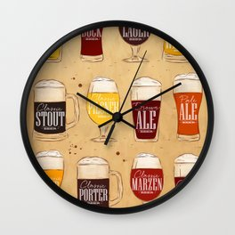 Poster types beer craft Wall Clock