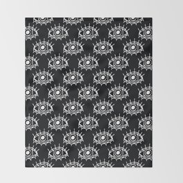 Eye of wisdom pattern-Black & White- Mix & Match with Simplicity of Life Throw Blanket