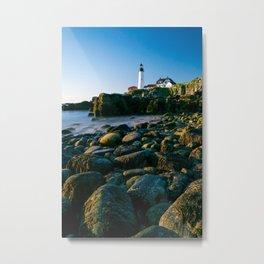 Portland Lighthouse Sunrise View From Rocks Metal Print