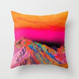 California's Sierra Mts-Digital Art, Pink & Orange Throw Pillow
