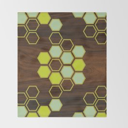 Hex in Green Throw Blanket