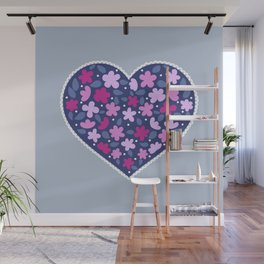 Floral hearts Wall Mural