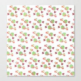 Three Fruit Combo Pattern Canvas Print