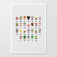 video games Canvas Prints featuring Video Games Pixel Alphabet by PixelPower